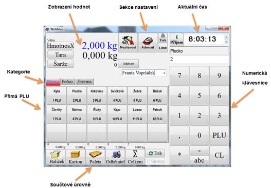 Popis pracovního okna etiketovacího programu WinMates